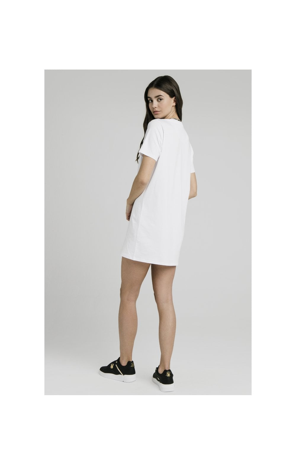Load image into Gallery viewer, SikSilk Tape Collar T-Shirt Dress - White (4)