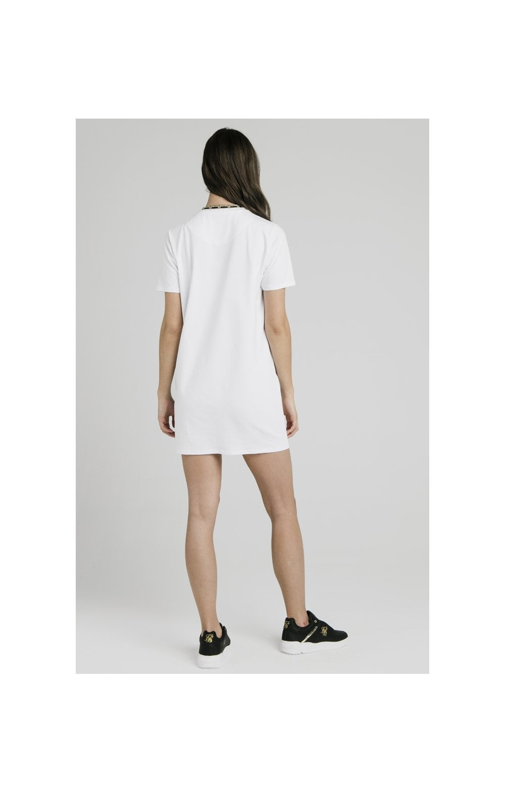 Load image into Gallery viewer, SikSilk Tape Collar T-Shirt Dress - White (5)