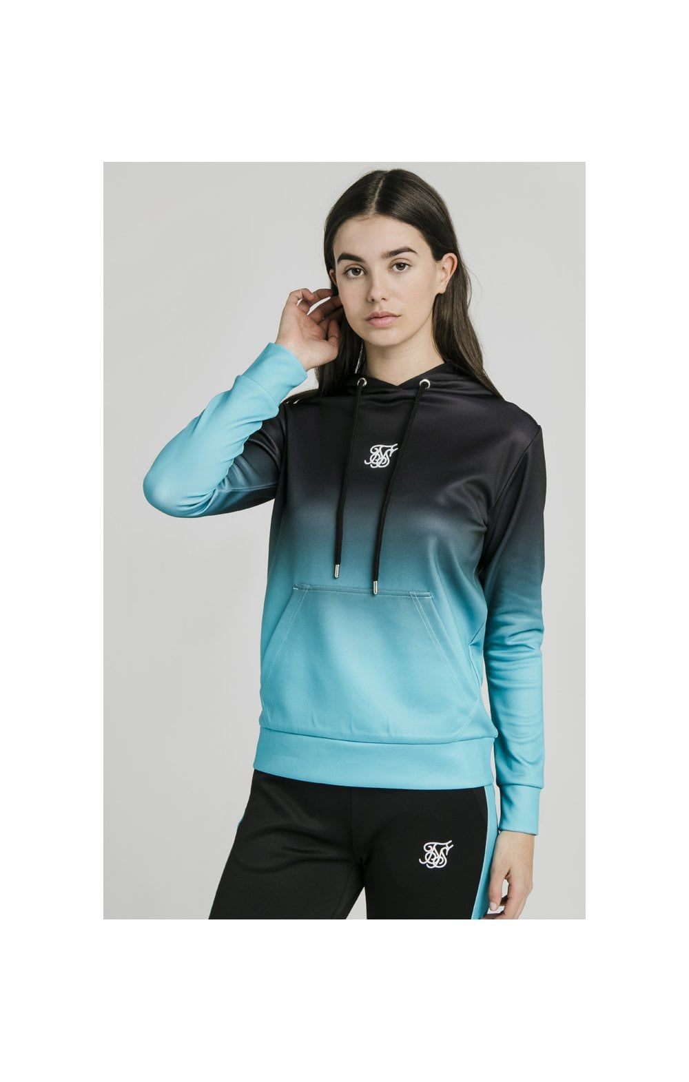 Load image into Gallery viewer, SikSilk Fade Overhead Hoodie - Black & Teal (1)
