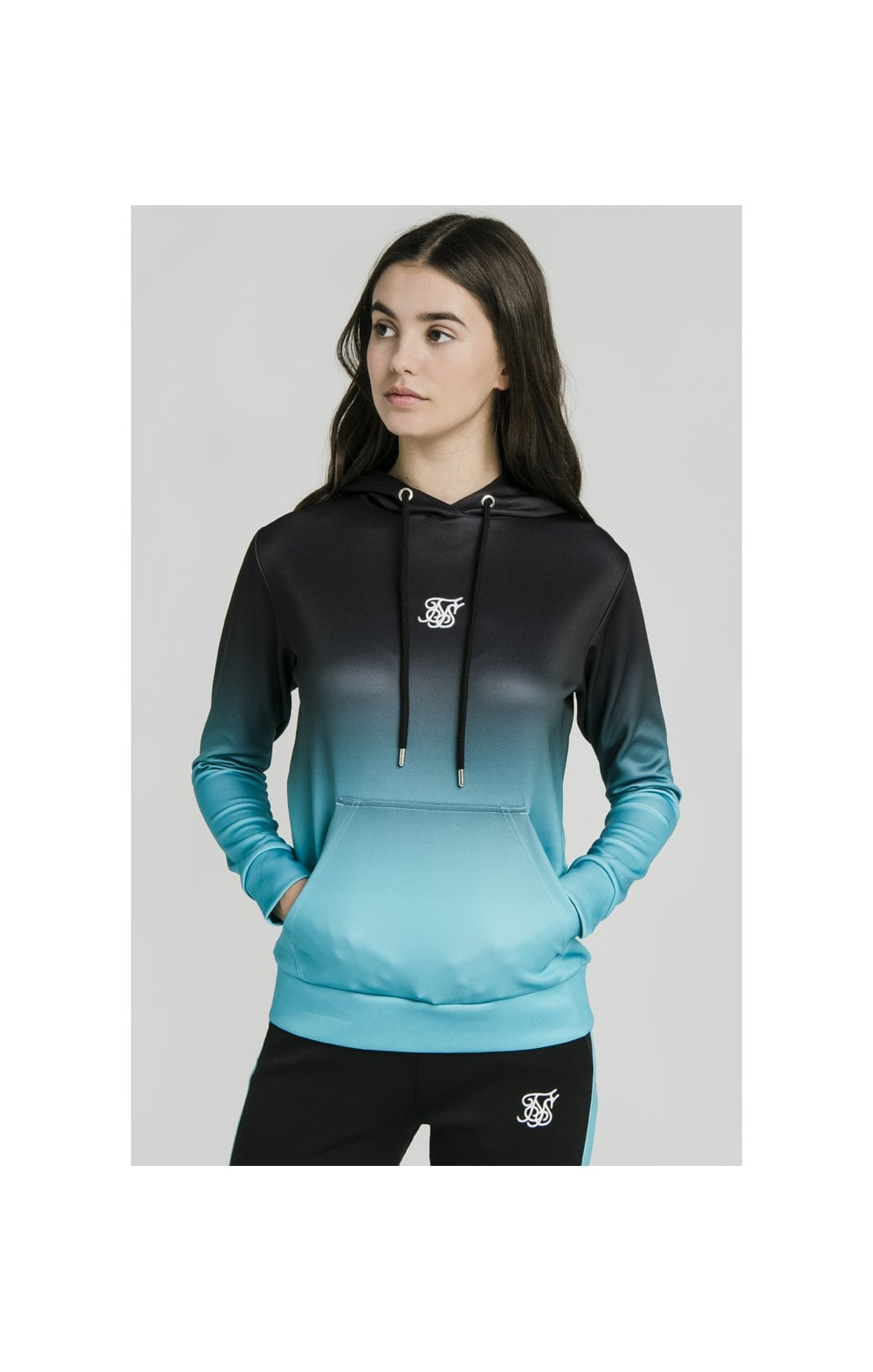 Load image into Gallery viewer, SikSilk Fade Overhead Hoodie - Black & Teal (6)