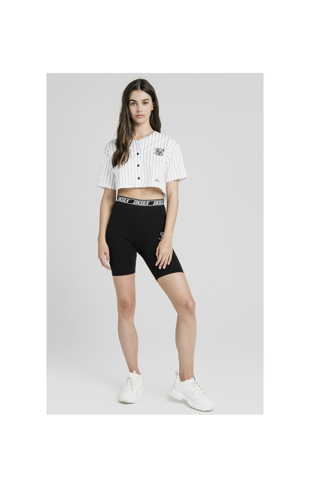 SikSilk Original Baseball Jersey Crop – White (3)