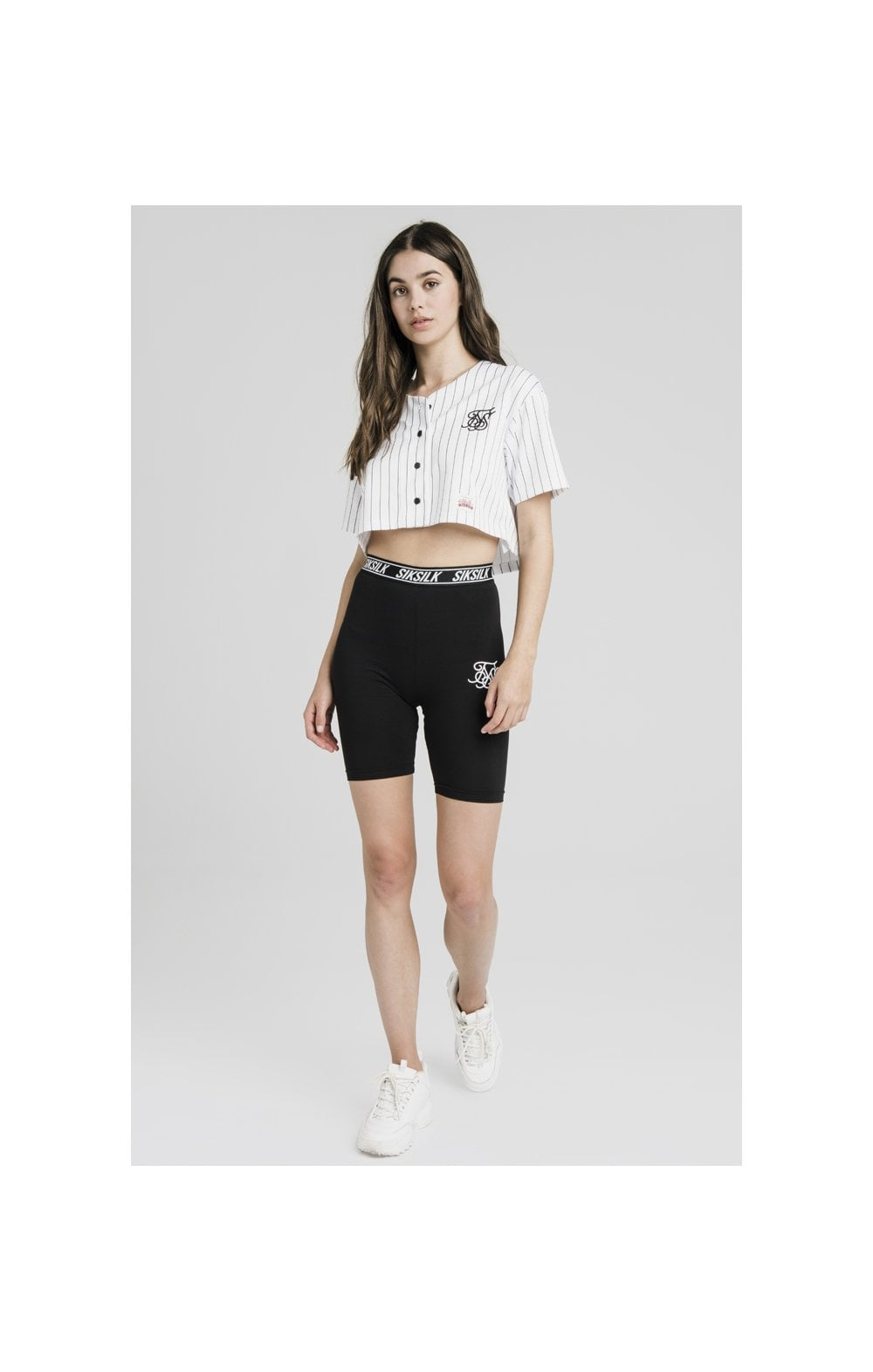 SikSilk Original Baseball Jersey Crop – White (4)