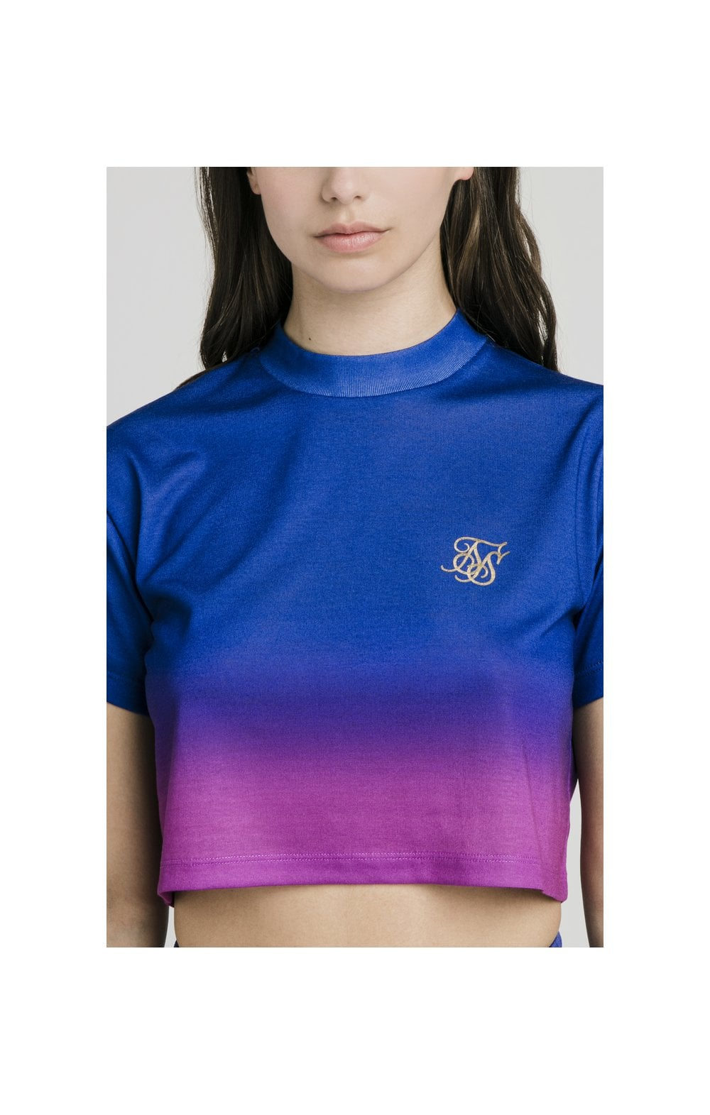 SikSilk Fade Crop Tee - Blue & Rose WOMEN SIZES: 6-XXS