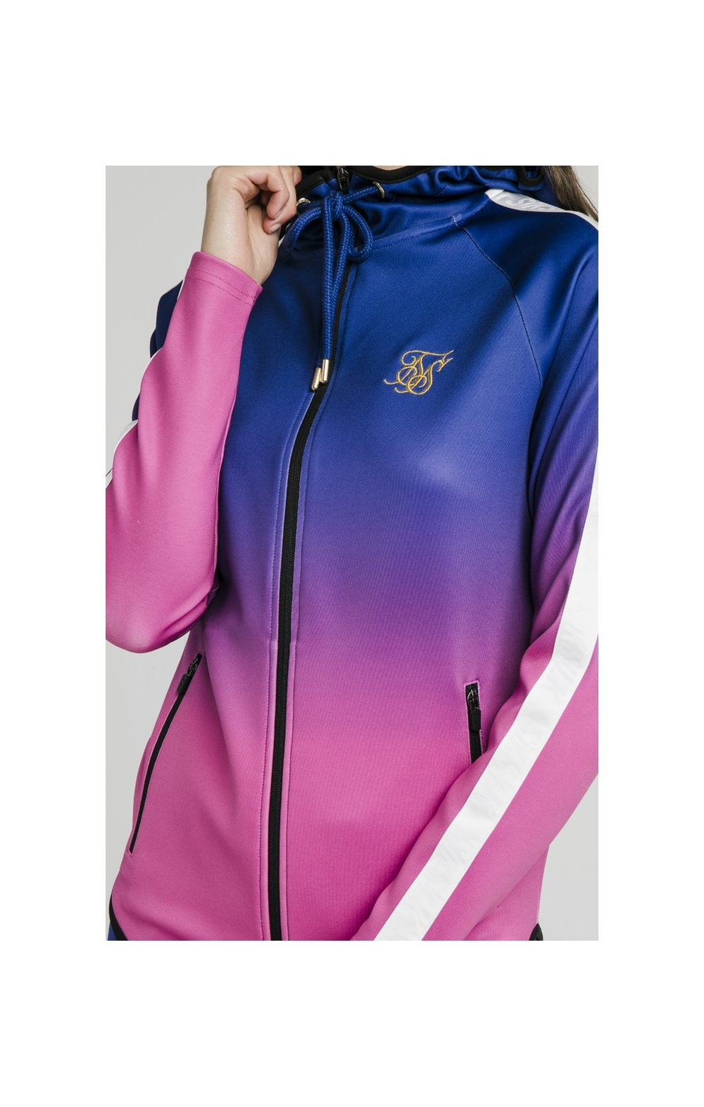 Load image into Gallery viewer, SikSilk Athlete Fade Zip Through Hoodie – Blue & Rose (1)