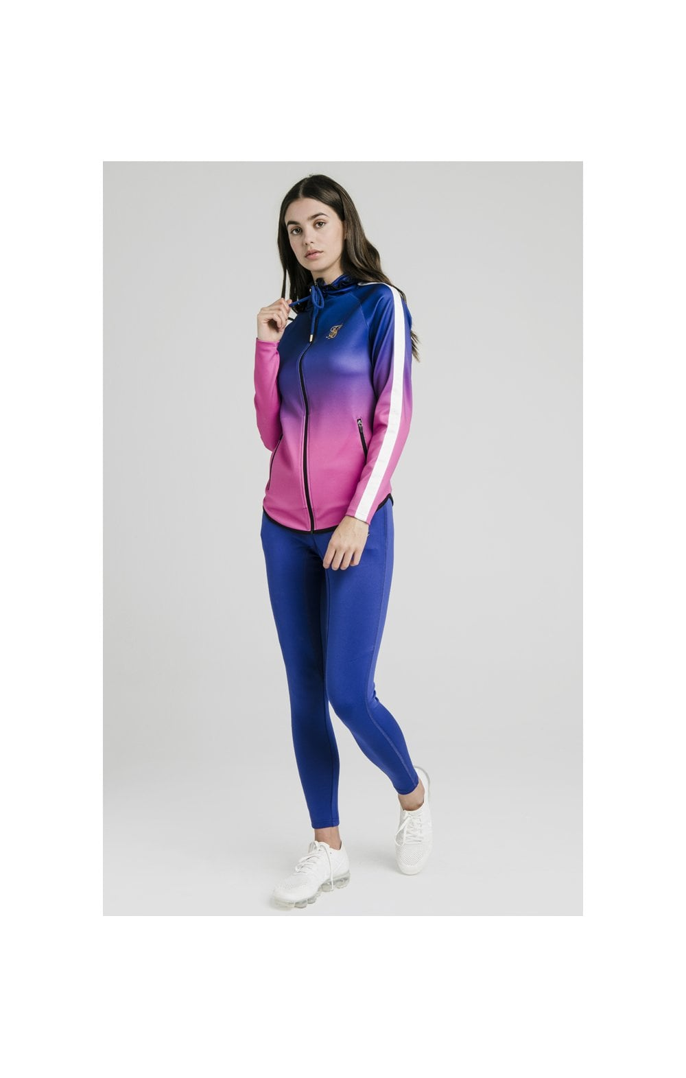 Load image into Gallery viewer, SikSilk Athlete Fade Zip Through Hoodie – Blue & Rose (3)