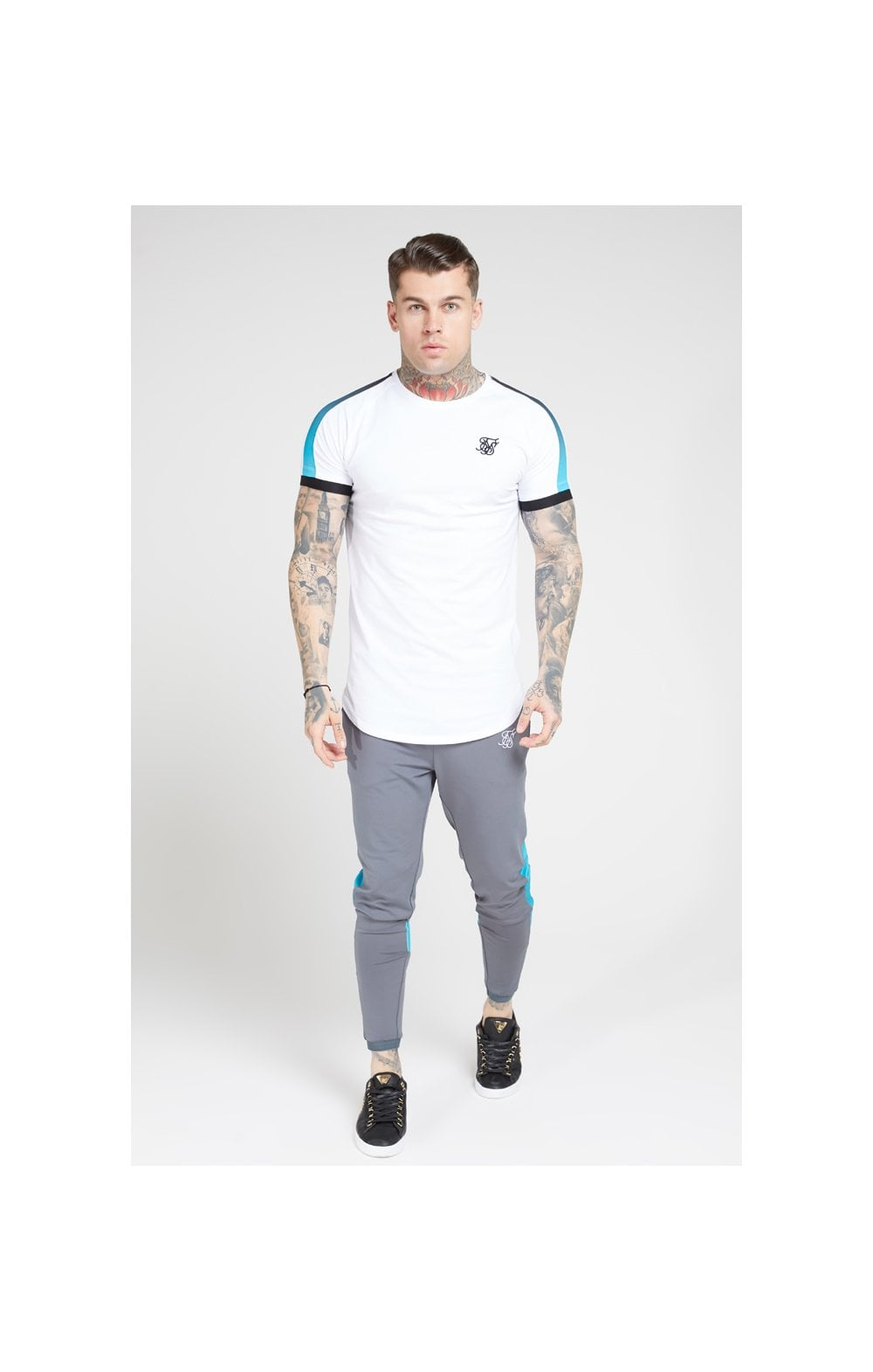 SikSilk S/S Inset Cuff Fade Panel Tech Tee – White, Black & Teal (2)