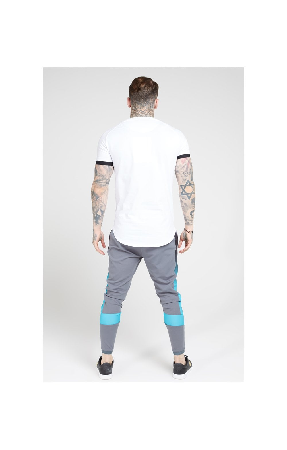 SikSilk S/S Inset Cuff Fade Panel Tech Tee – White, Black & Teal (4)