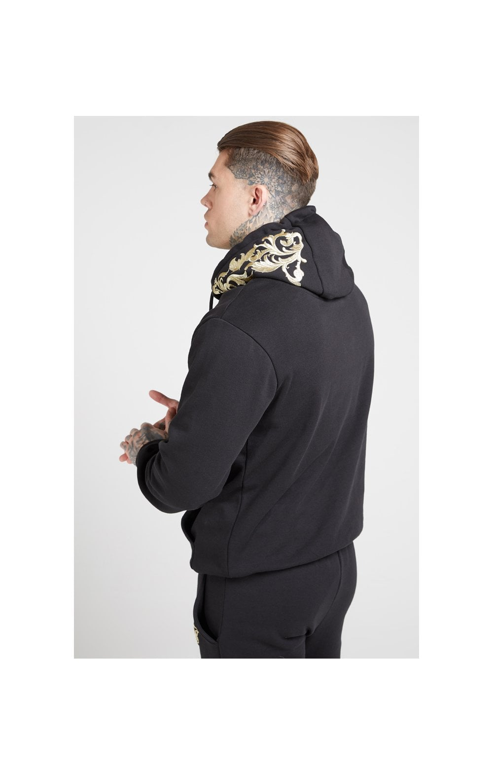 Load image into Gallery viewer, SikSilk Overhead Hoodie – Jet Black & Gold