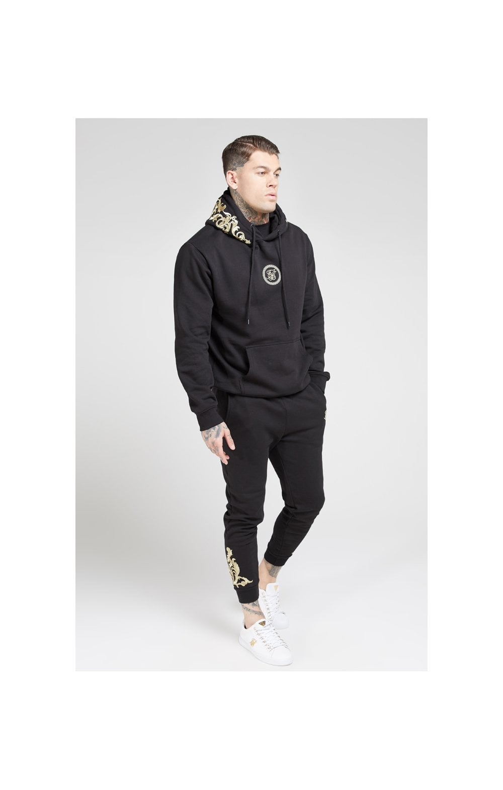 Load image into Gallery viewer, SikSilk Overhead Hoodie – Jet Black & Gold (2)