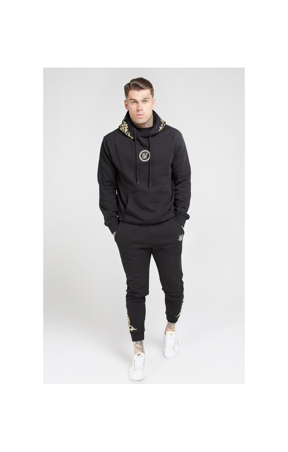 Load image into Gallery viewer, SikSilk Overhead Hoodie – Jet Black & Gold (3)