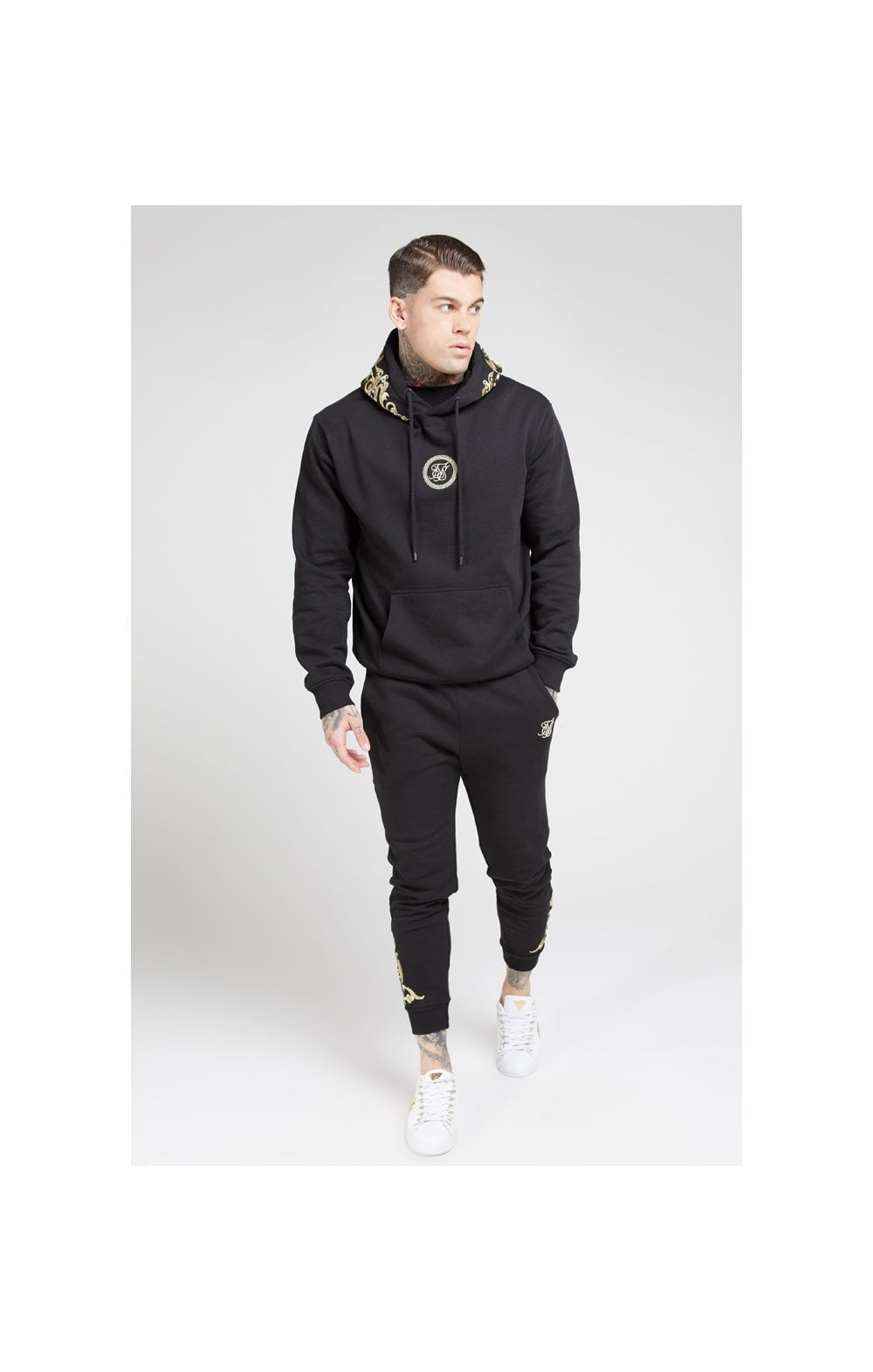 Load image into Gallery viewer, SikSilk Overhead Hoodie – Jet Black & Gold (4)