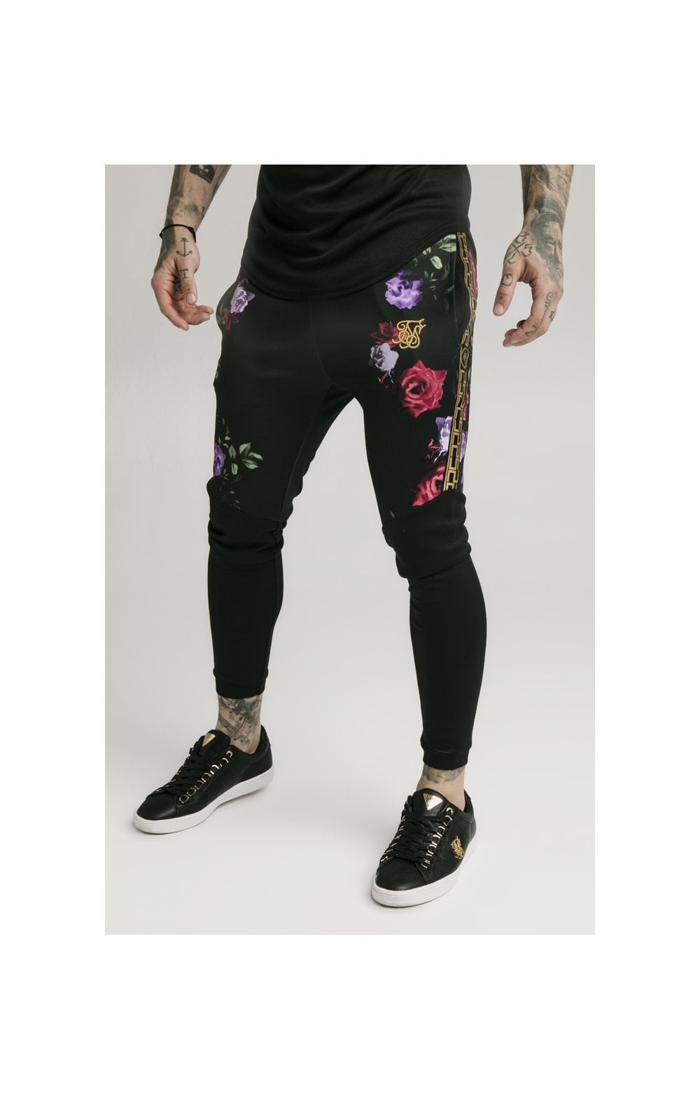 Load image into Gallery viewer, SikSilk Cuffed Panel Athlete Track Pants - Black & Oil Paint