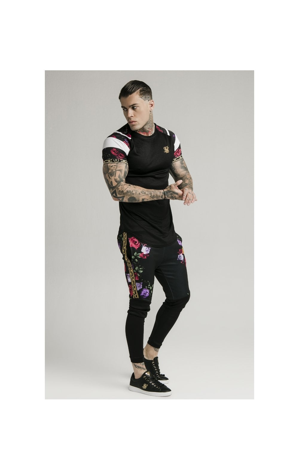 Load image into Gallery viewer, SikSilk Cuffed Panel Athlete Track Pants - Black & Oil Paint (2)