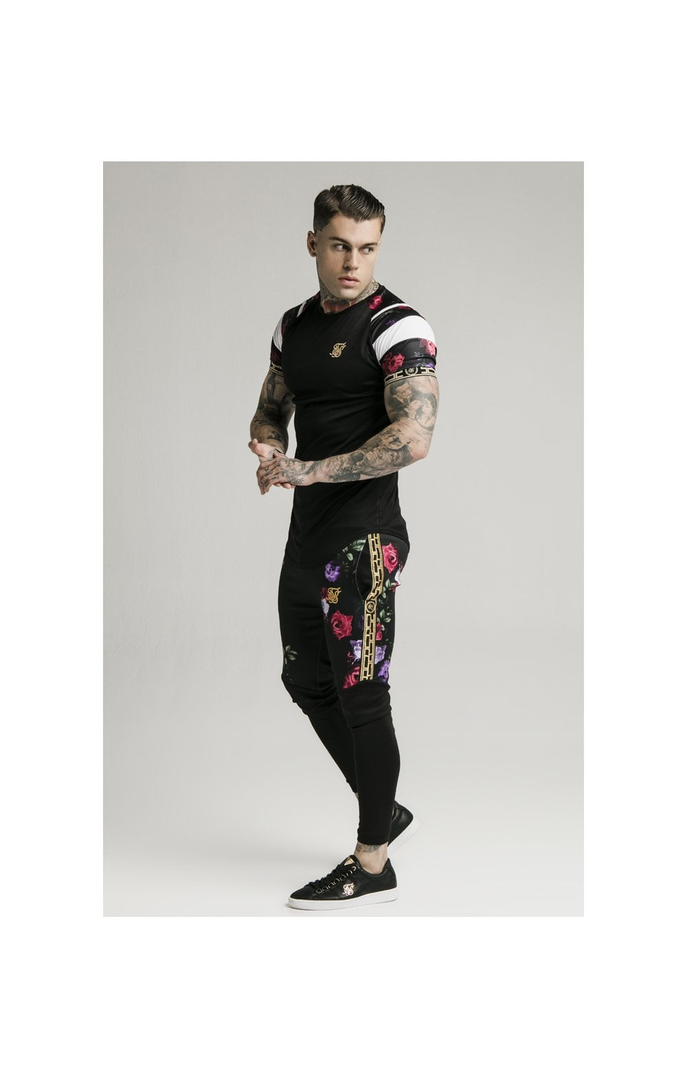 Load image into Gallery viewer, SikSilk Cuffed Panel Athlete Track Pants - Black & Oil Paint (3)