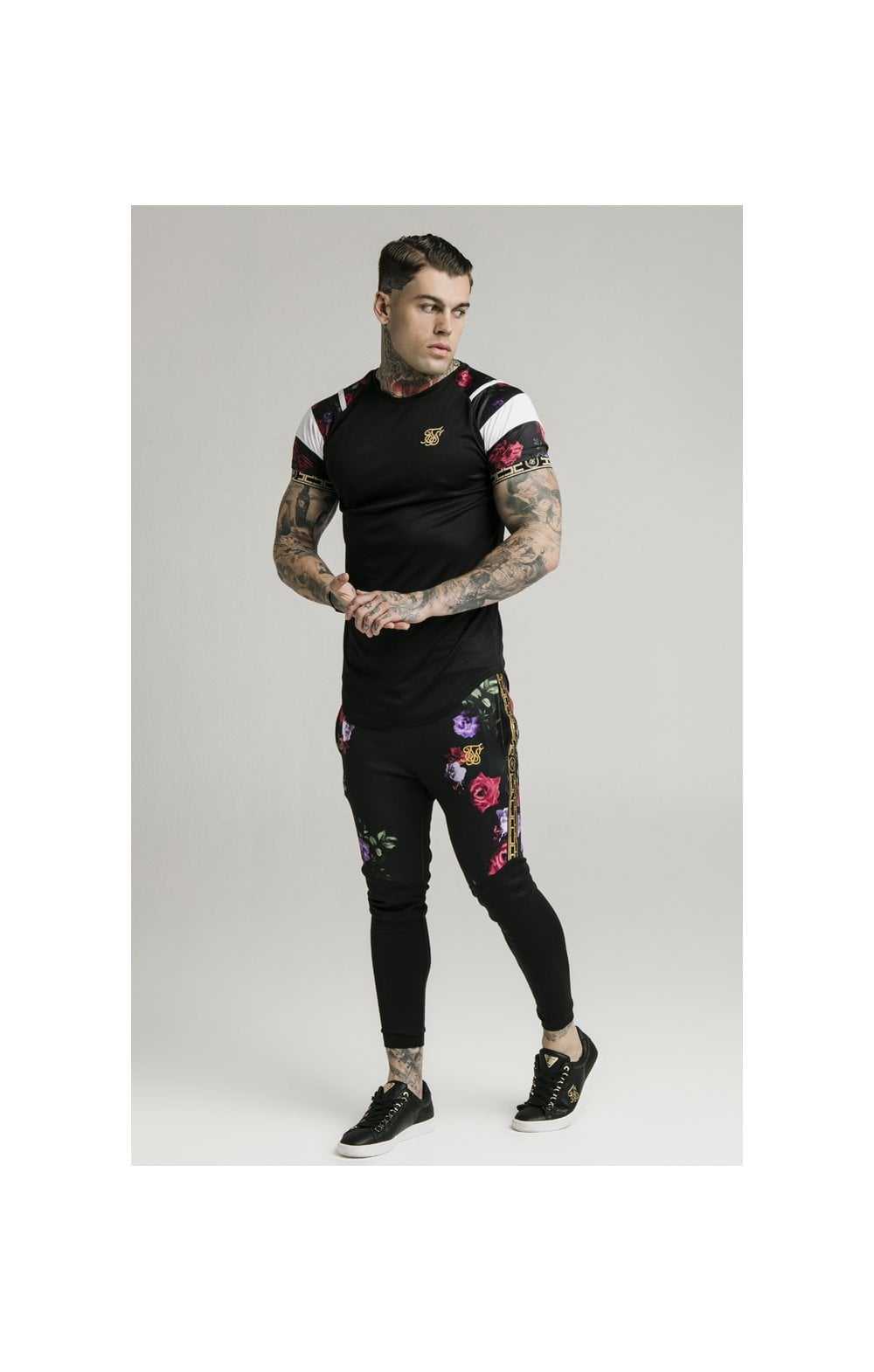 Load image into Gallery viewer, SikSilk Cuffed Panel Athlete Track Pants - Black & Oil Paint (5)