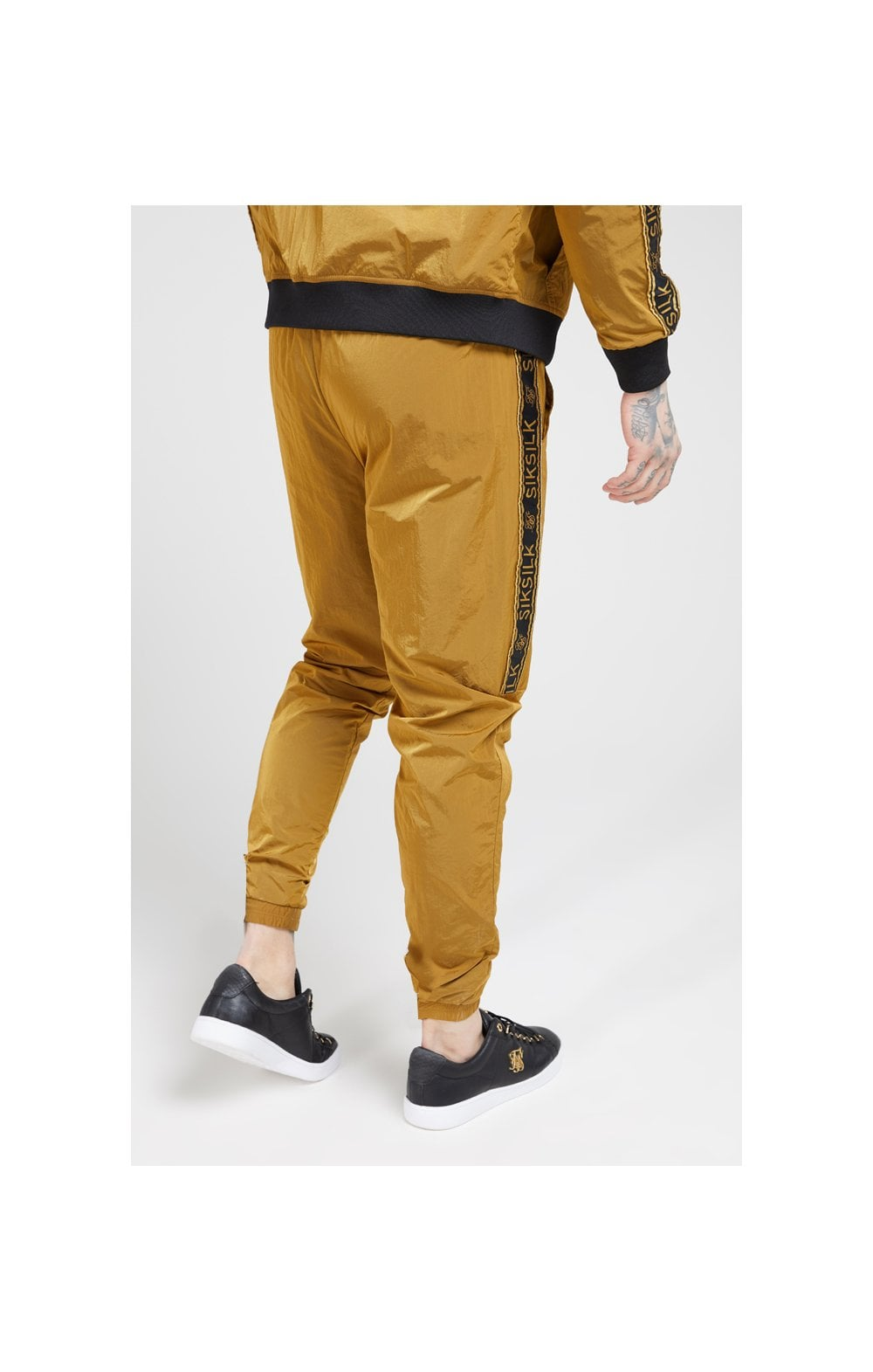 Load image into Gallery viewer, SikSilk Crushed Nylon Taped Joggers – Golden Mustard (3)
