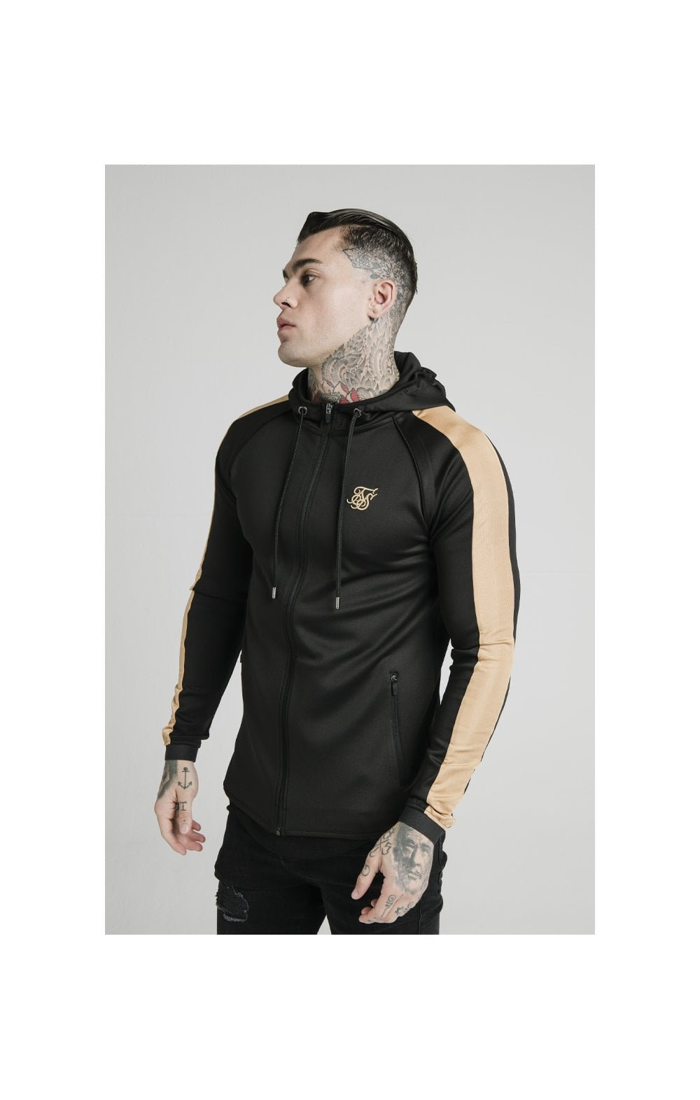 Load image into Gallery viewer, SikSilk Scope Satin Zip Through Hoodie – Black & Gold