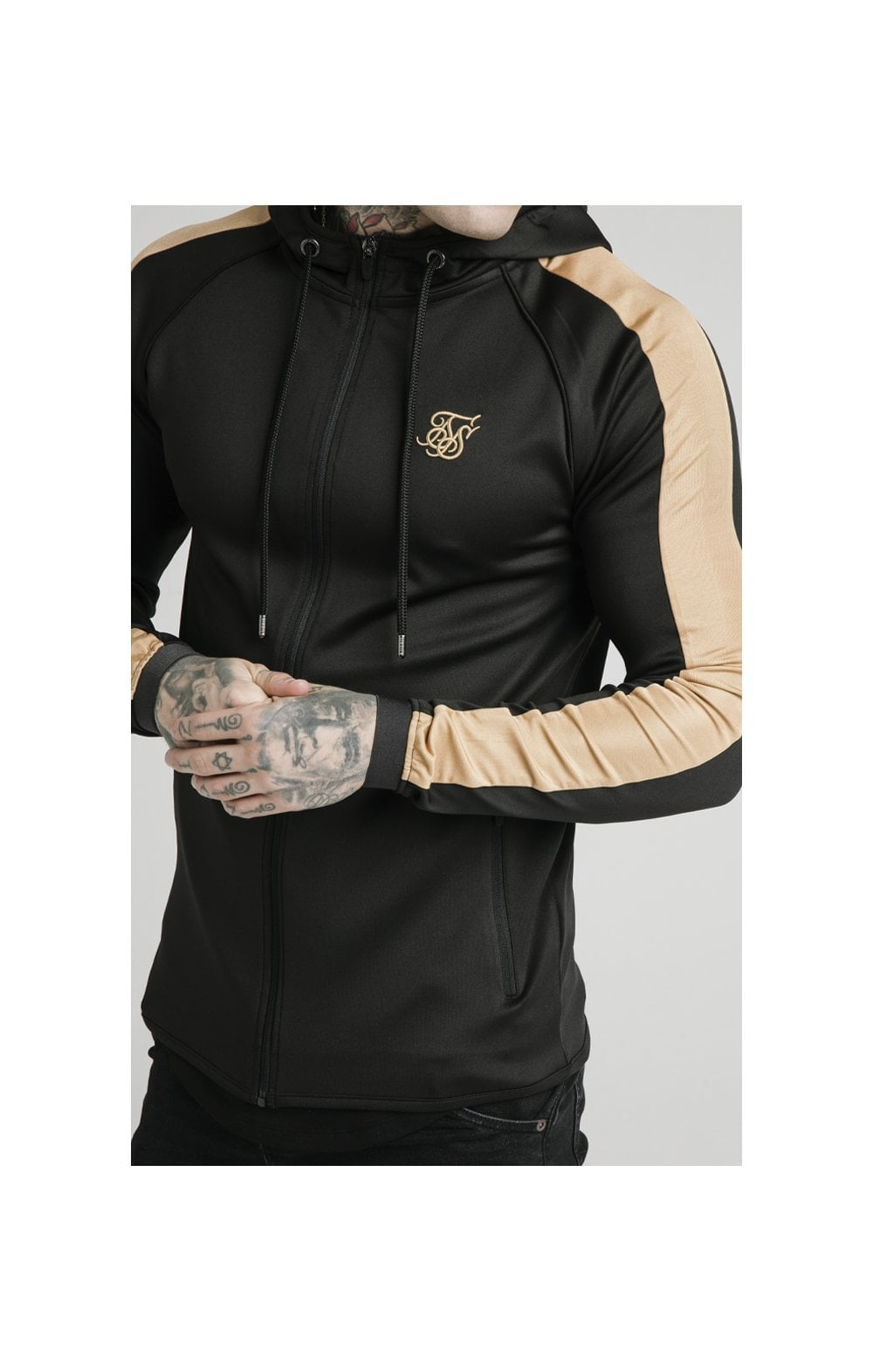 Load image into Gallery viewer, SikSilk Scope Satin Zip Through Hoodie – Black & Gold (1)