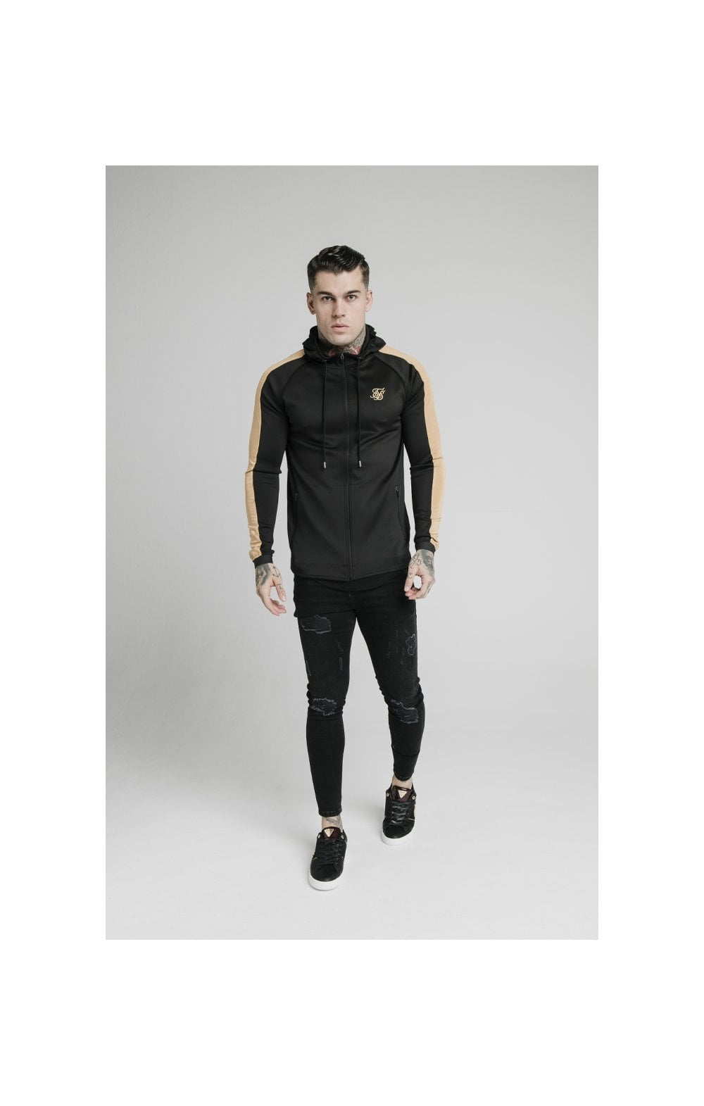 Load image into Gallery viewer, SikSilk Scope Satin Zip Through Hoodie – Black & Gold (2)