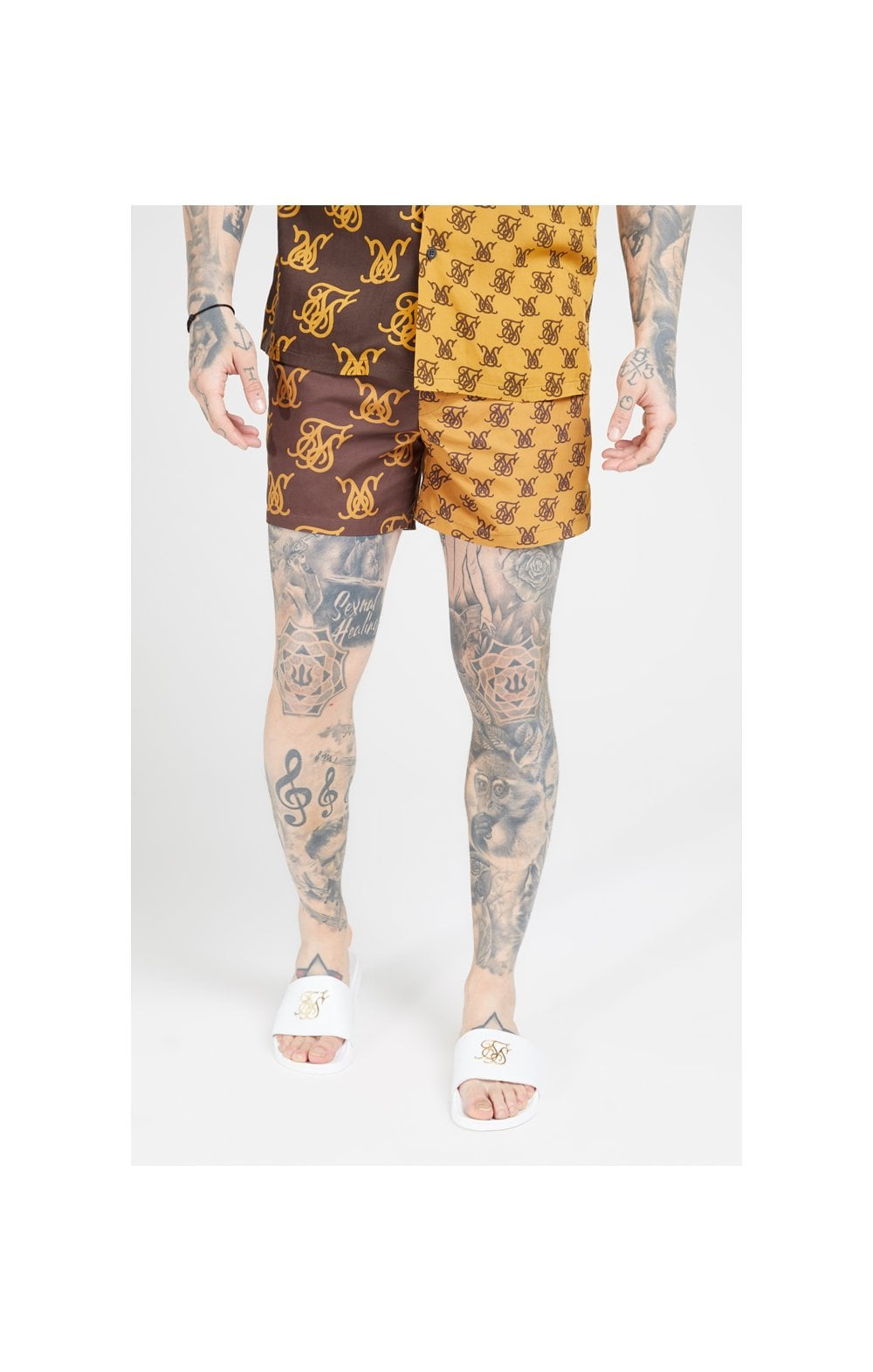 Load image into Gallery viewer, SikSilk Standard Swim Shorts – Tan & Brown