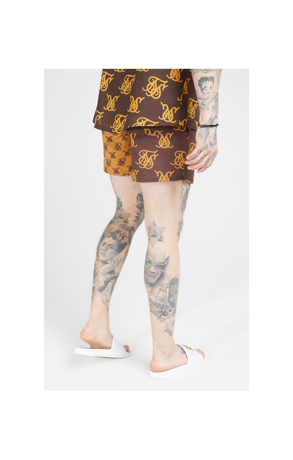 Load image into Gallery viewer, SikSilk Standard Swim Shorts – Tan & Brown (4)