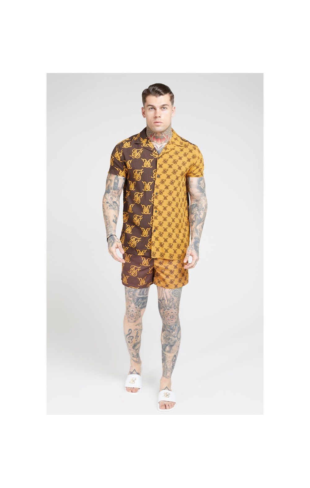 Load image into Gallery viewer, SikSilk Standard Swim Shorts – Tan & Brown (2)