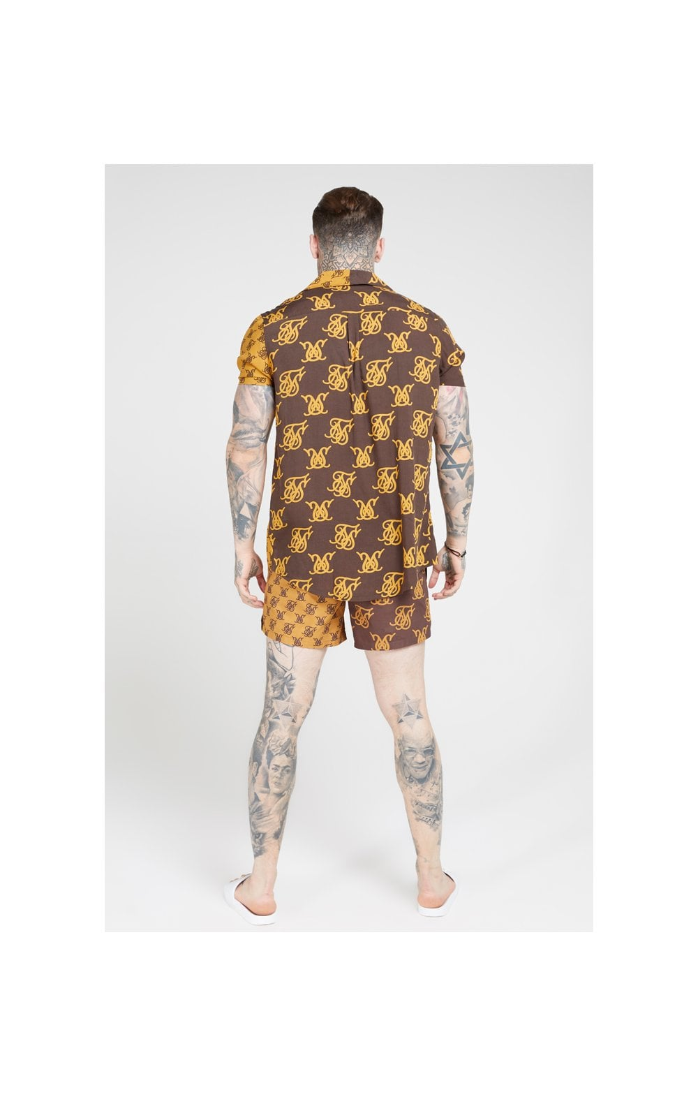 Load image into Gallery viewer, SikSilk Standard Swim Shorts – Tan & Brown (3)