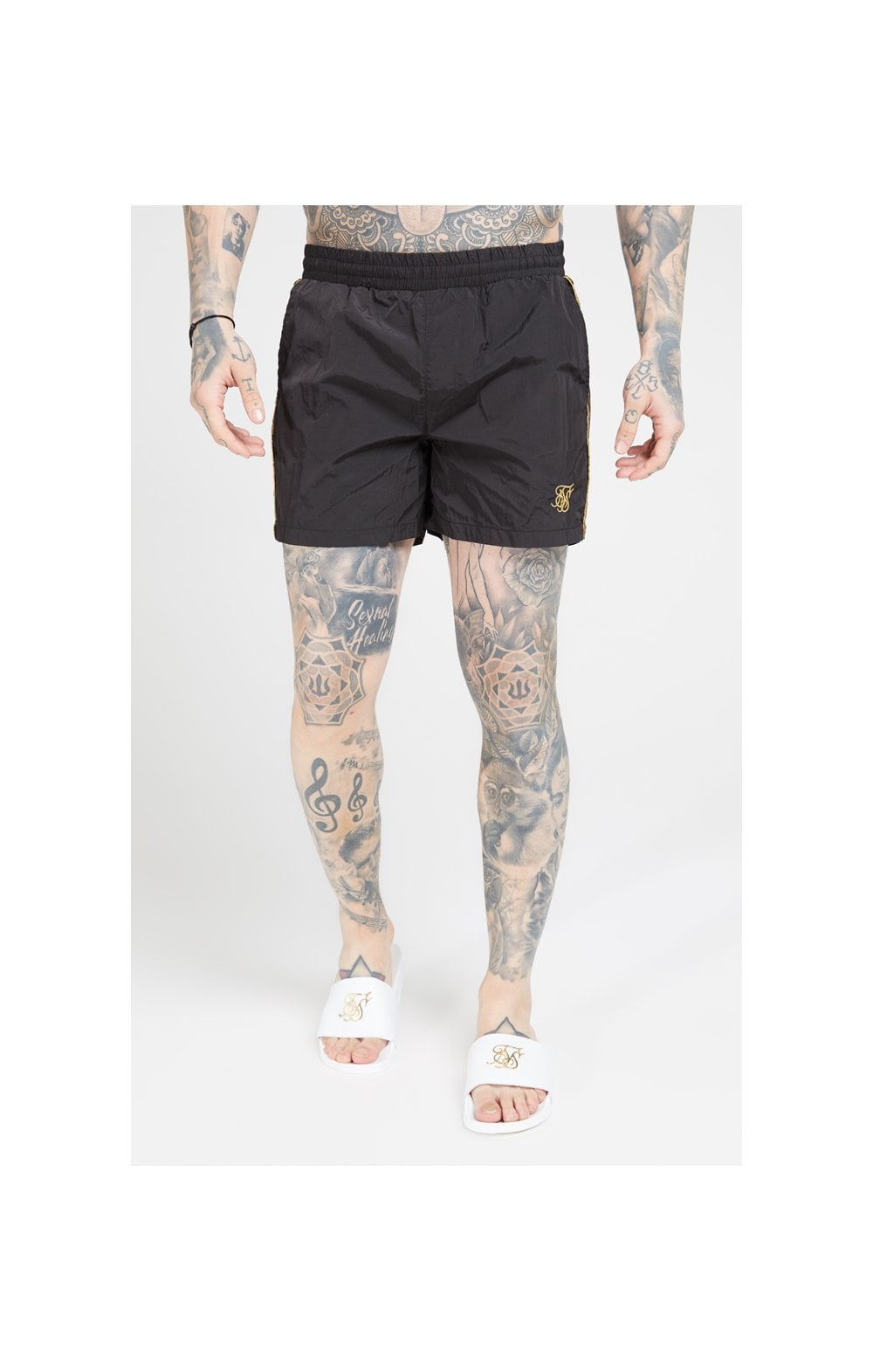 Load image into Gallery viewer, SikSilk Crushed Nylon Tape Shorts – Black & Gold