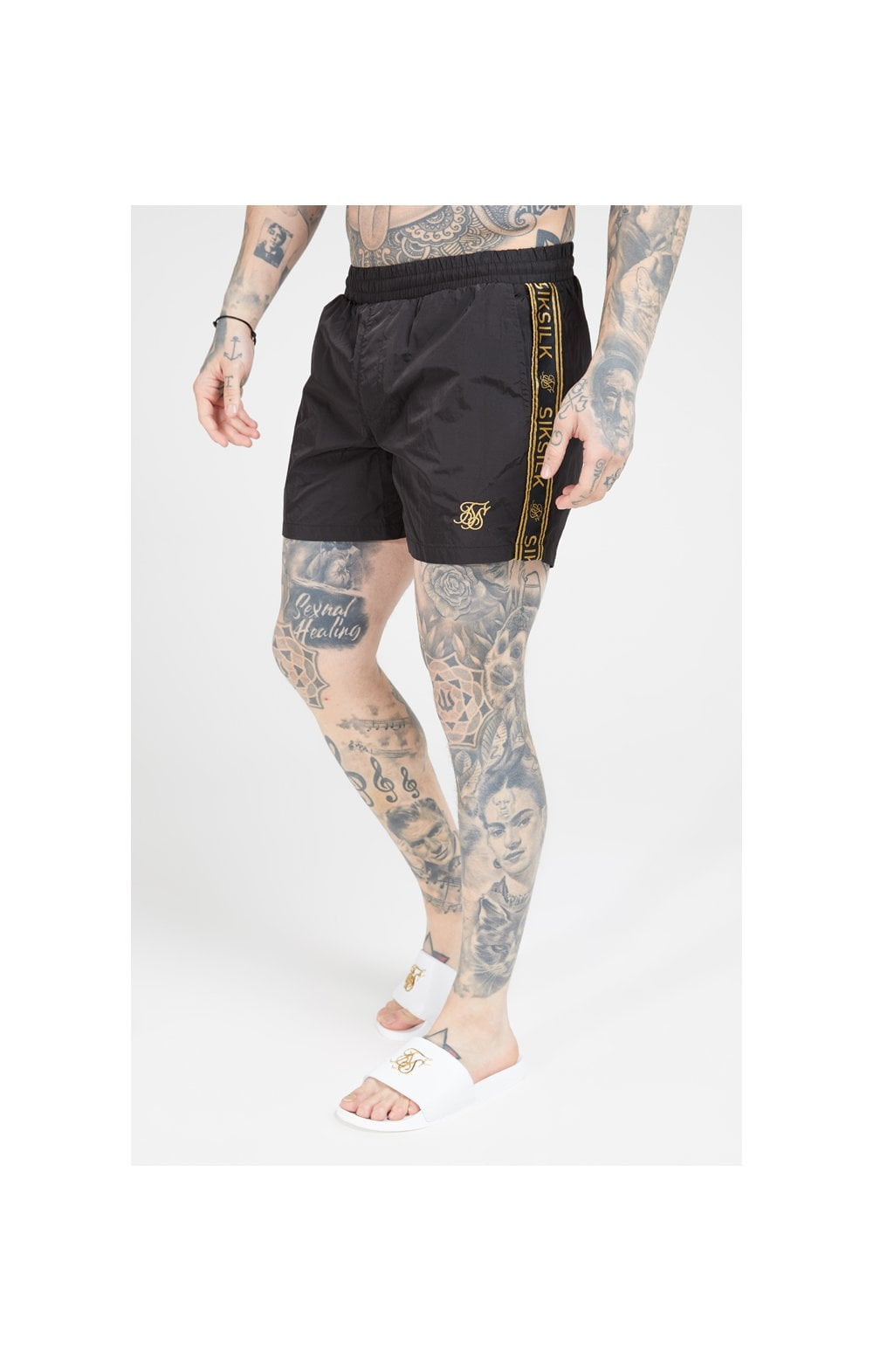 SikSilk Crushed Nylon Tape Shorts – Black & Gold (1)