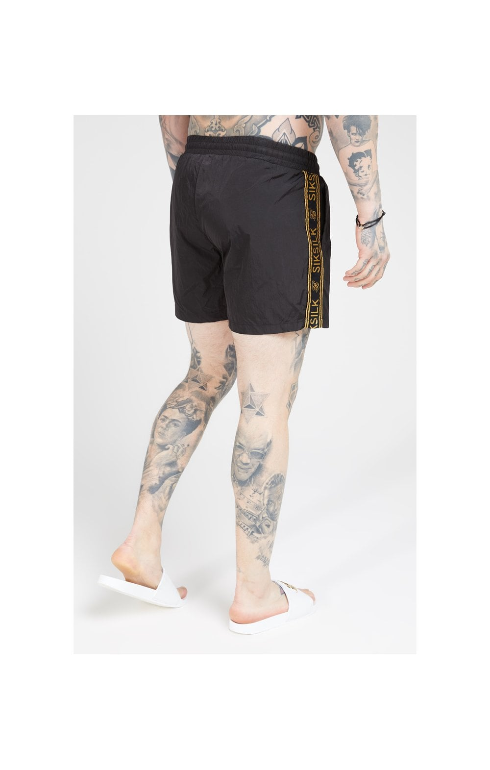 Load image into Gallery viewer, SikSilk Crushed Nylon Tape Shorts – Black & Gold (4)