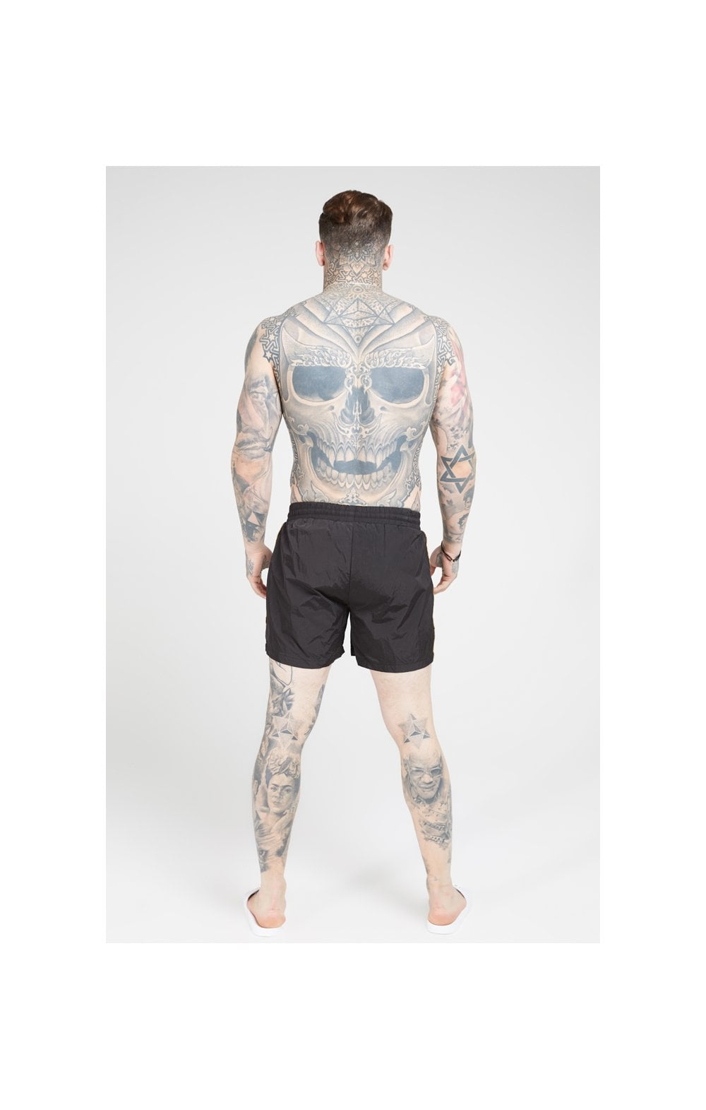 Load image into Gallery viewer, SikSilk Crushed Nylon Tape Shorts – Black & Gold (3)