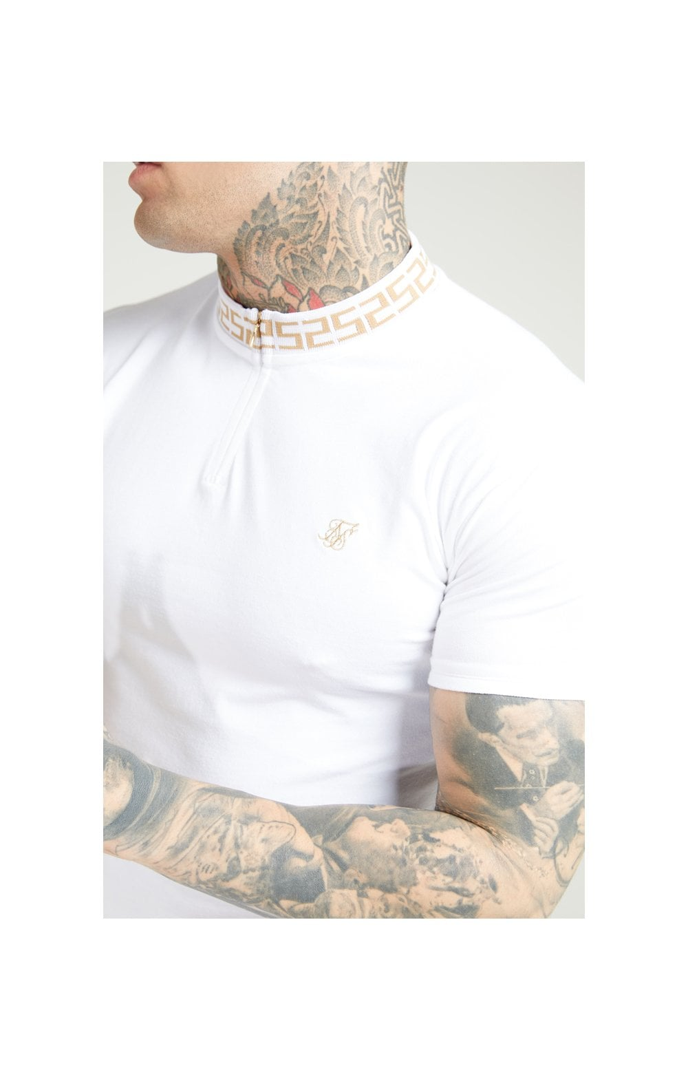 SikSilk S/S Chain Rib Collar Polo – White (1)