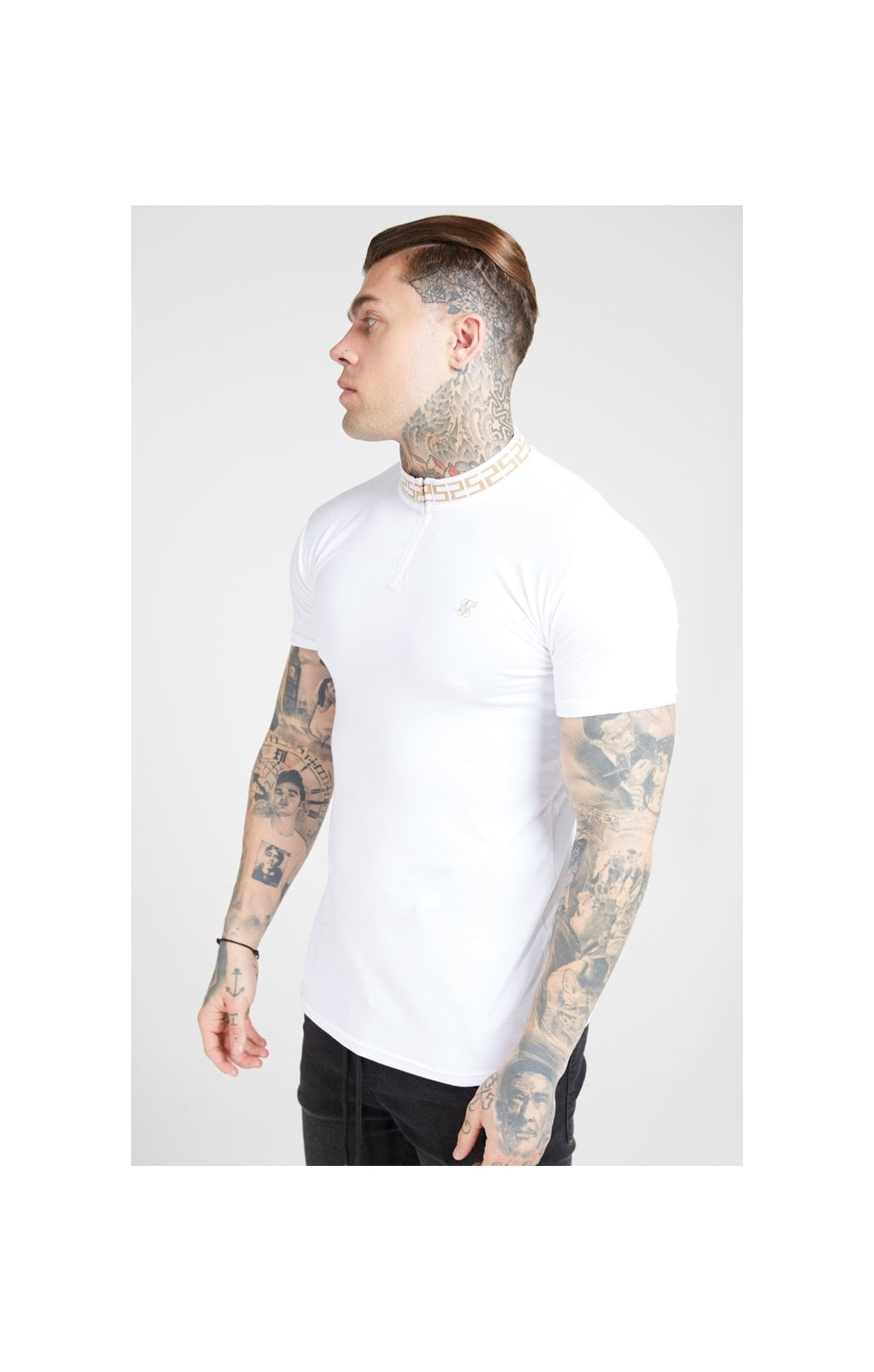 SikSilk S/S Chain Rib Collar Polo – White