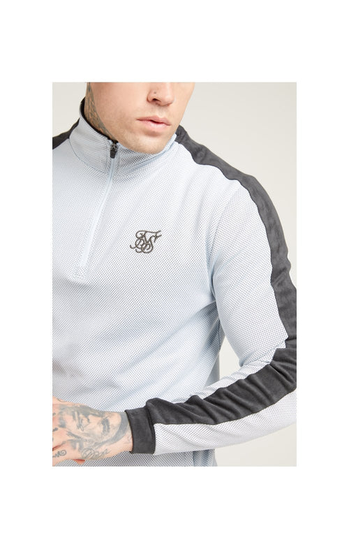 SikSilk 1/4 Zip Eyelet Poly Tape Track Top - Ice Grey & Charcoal