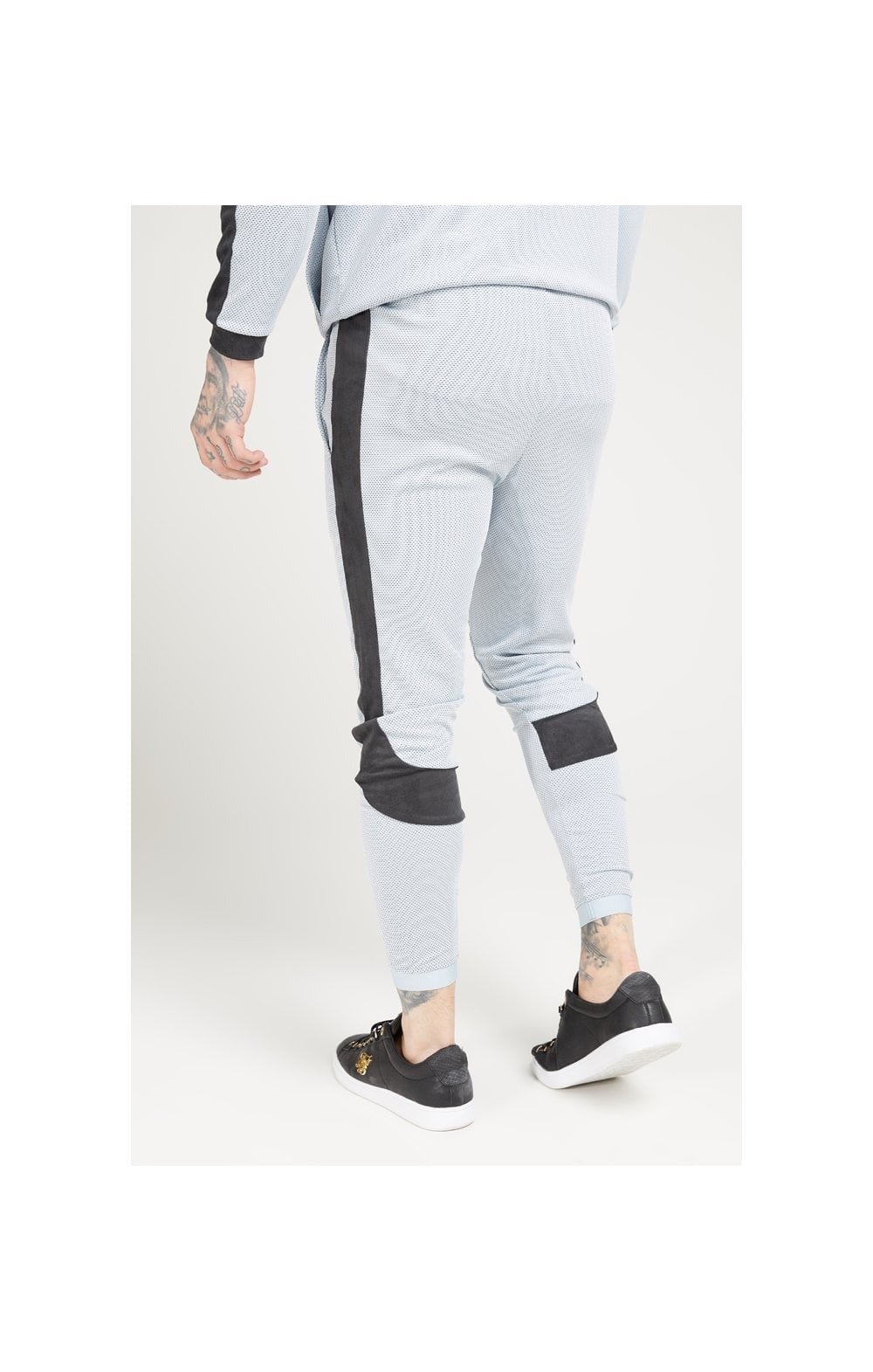 Load image into Gallery viewer, SikSilk Athlete Eyelet Tape Track Pants – Ice Grey & Charcoal (1)
