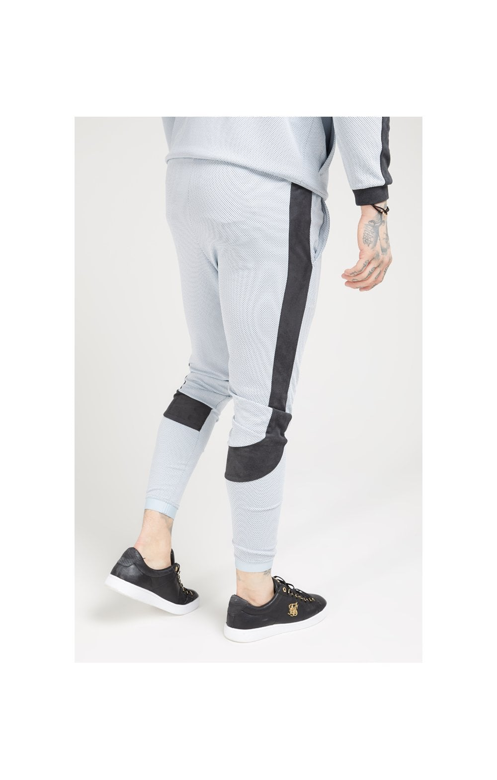Load image into Gallery viewer, SikSilk Athlete Eyelet Tape Track Pants – Ice Grey & Charcoal (2)