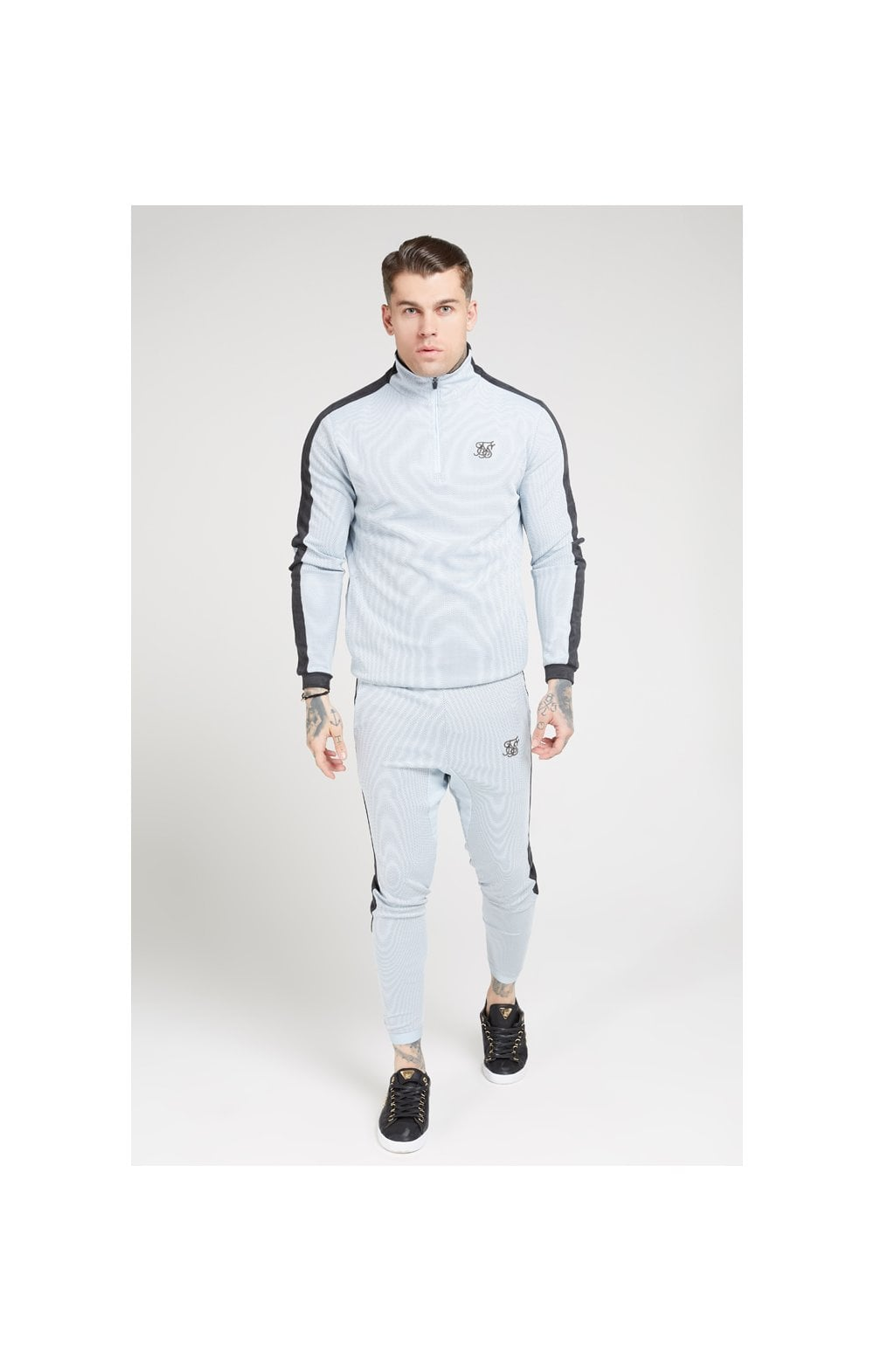Load image into Gallery viewer, SikSilk Athlete Eyelet Tape Track Pants – Ice Grey & Charcoal (3)