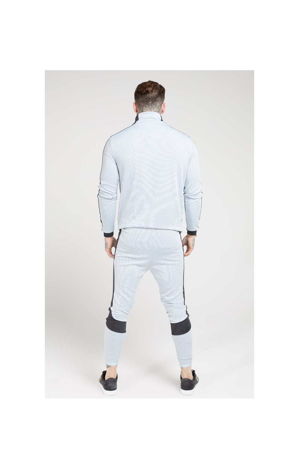 Load image into Gallery viewer, SikSilk Athlete Eyelet Tape Track Pants – Ice Grey & Charcoal (4)