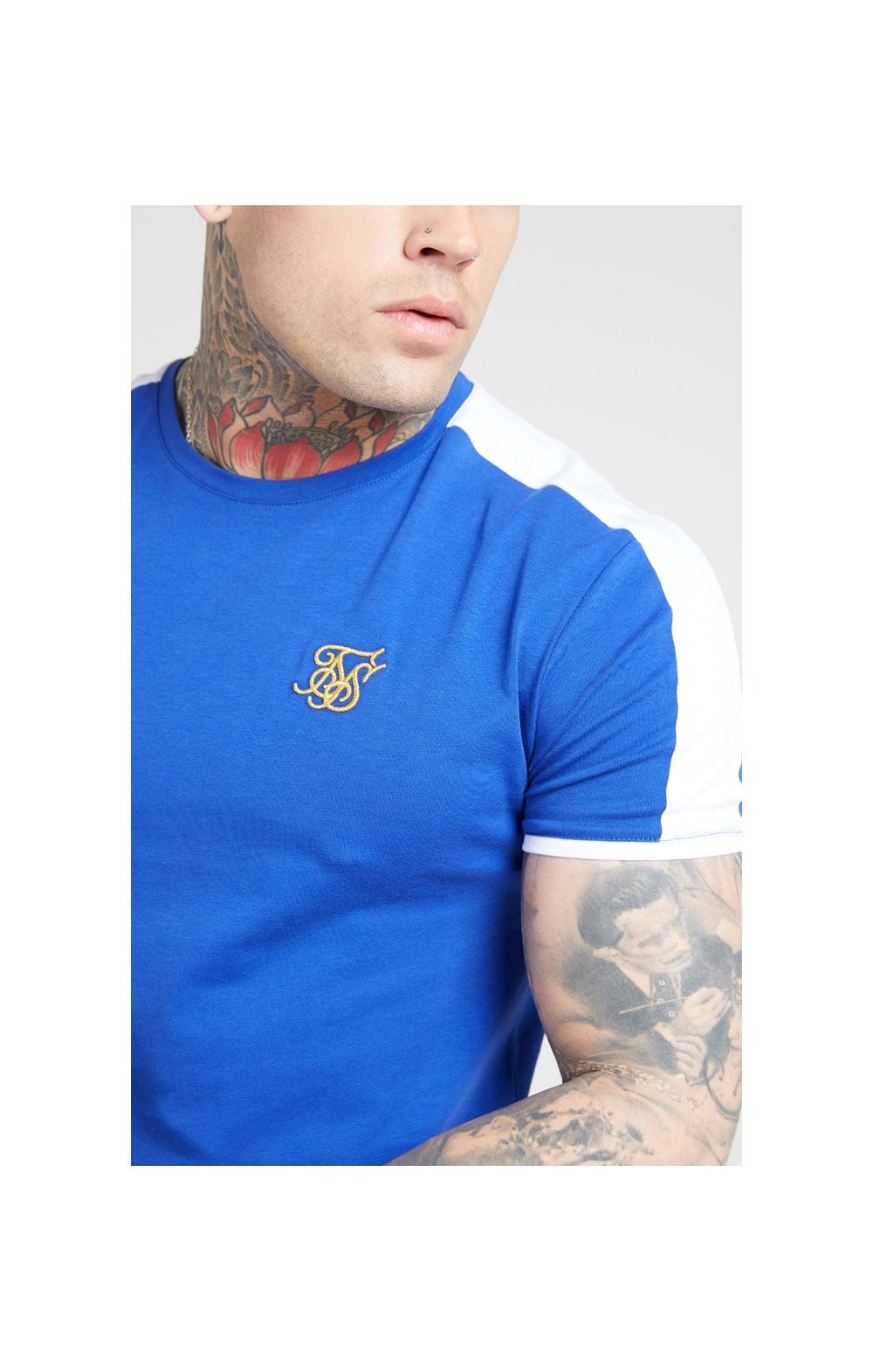 Load image into Gallery viewer, SikSilk S/S Panel Gym Tee - Neon Blue & White