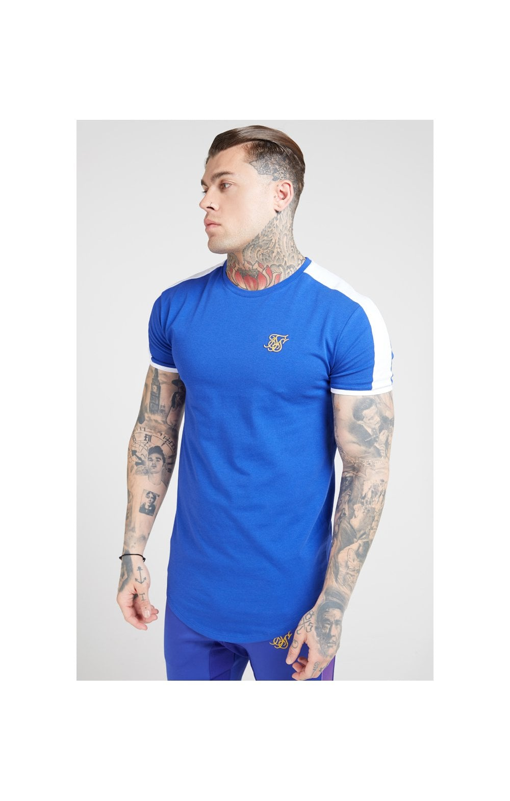 Load image into Gallery viewer, SikSilk S/S Panel Gym Tee - Neon Blue & White (1)