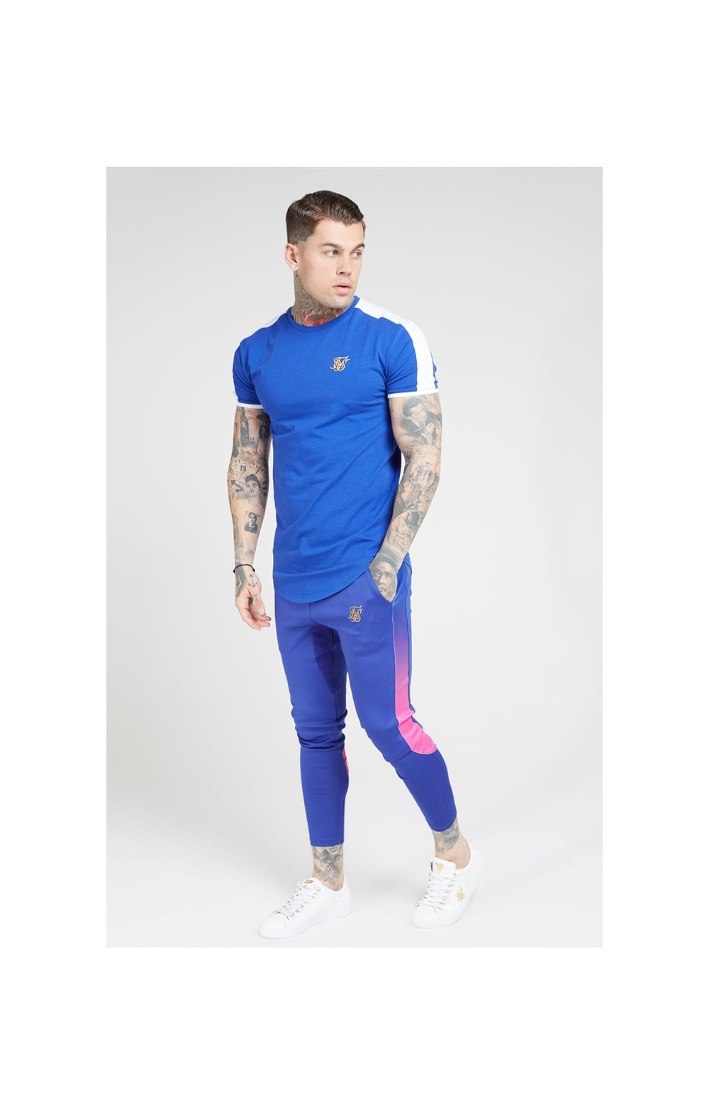 Load image into Gallery viewer, SikSilk S/S Panel Gym Tee - Neon Blue & White (2)