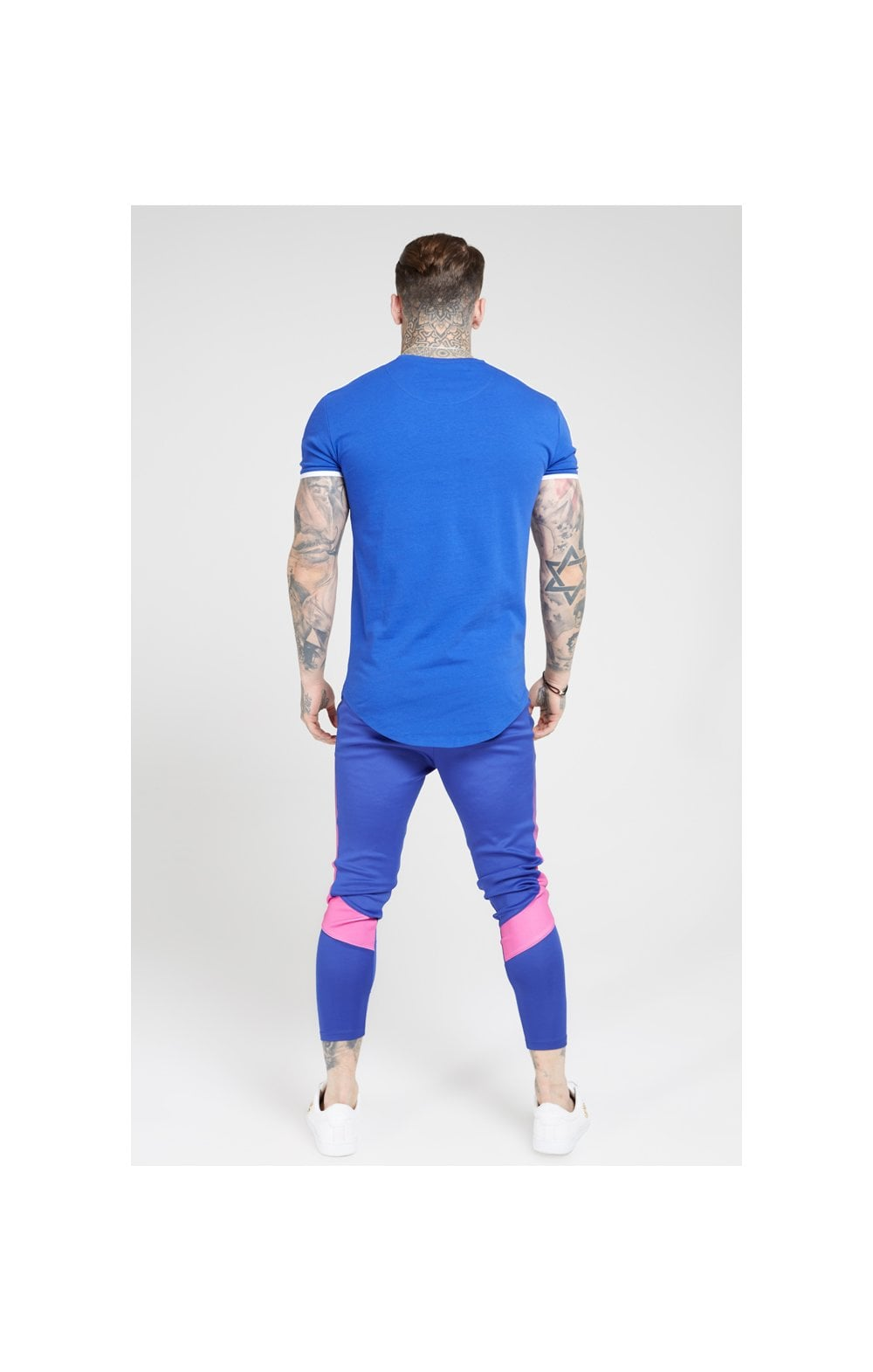 Load image into Gallery viewer, SikSilk S/S Panel Gym Tee - Neon Blue & White (4)