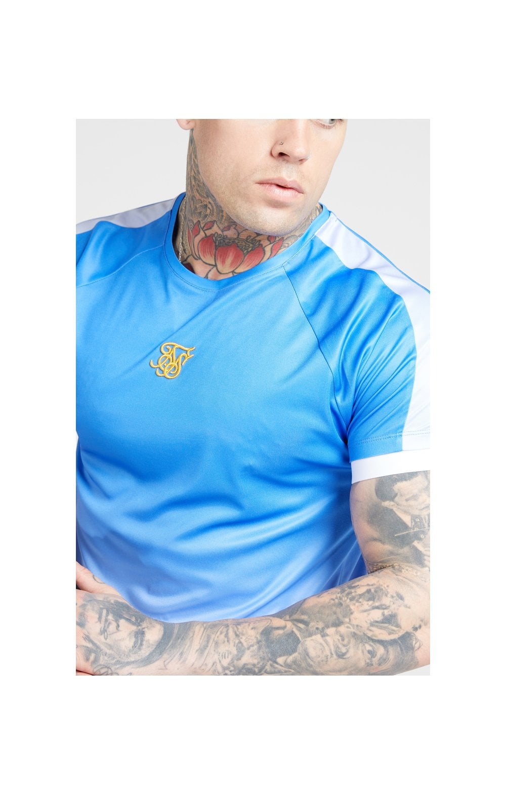 SikSilk S/S Raglan Fade Straight Hem Tee - Blue & Lilac MEN SIZES TOP: Small