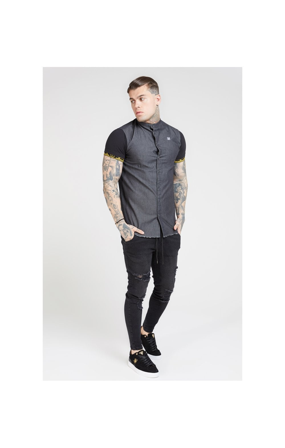 SikSilk S/S Denim Shirt – Black (2)