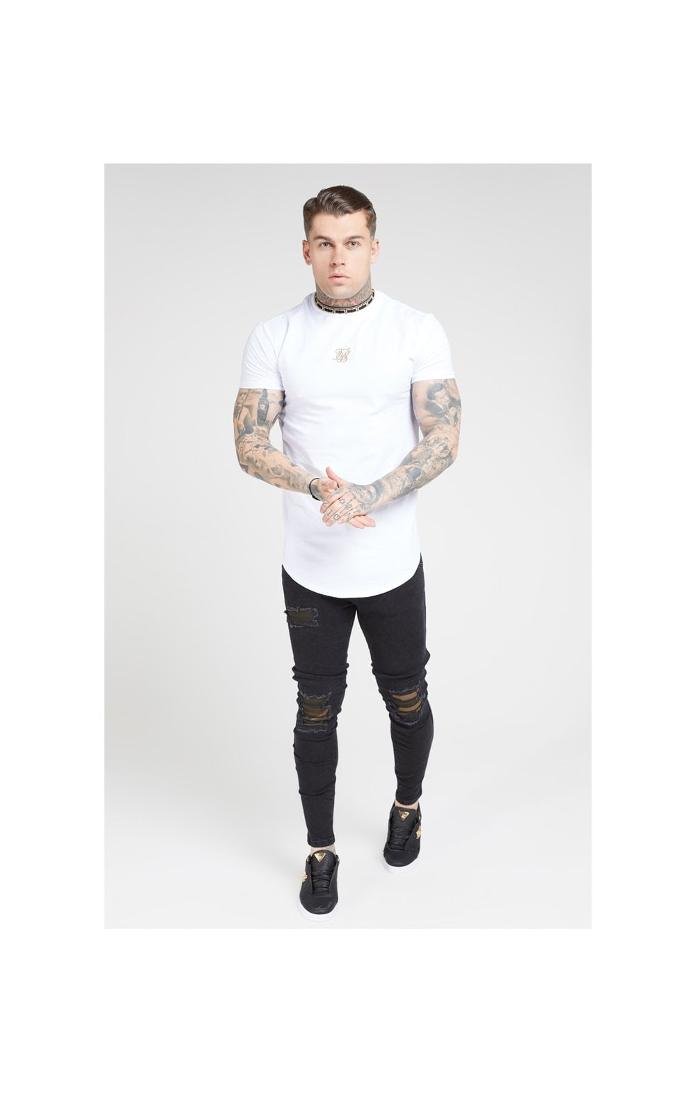 SikSilk Tape Collar Gym Tee - White & Gold (3)