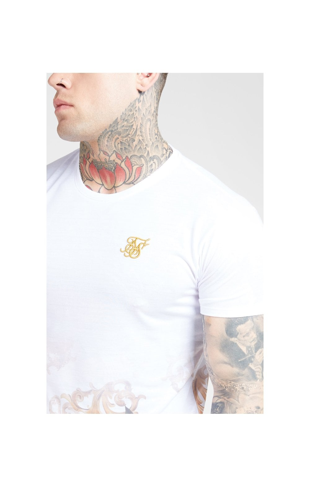SikSilk S/S Curved Hem Tee - White & Floral Elegance MEN SIZES TOP: Small