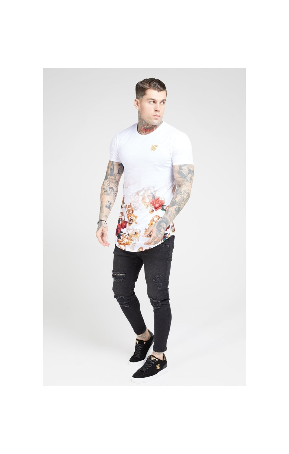 SikSilk S/S Curved Hem Tee – White & Floral Elegance (3)