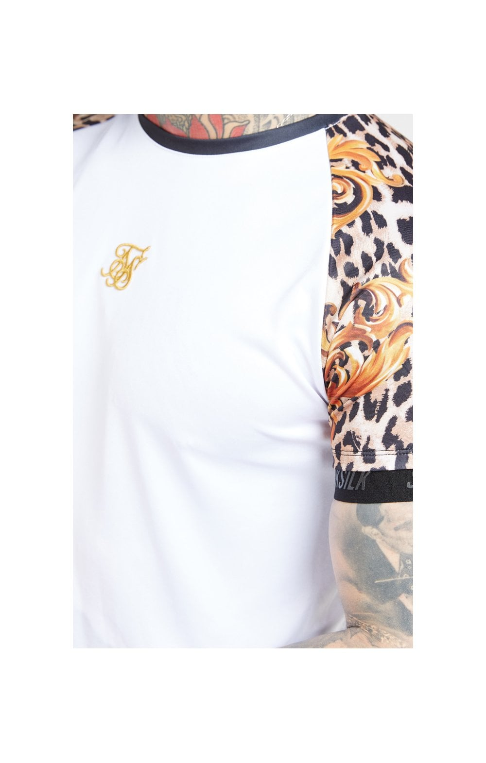 SikSilk S/S Curved Hem Raglan Tech Tee - White & Floral Leopard MEN SIZES TOP: Small
