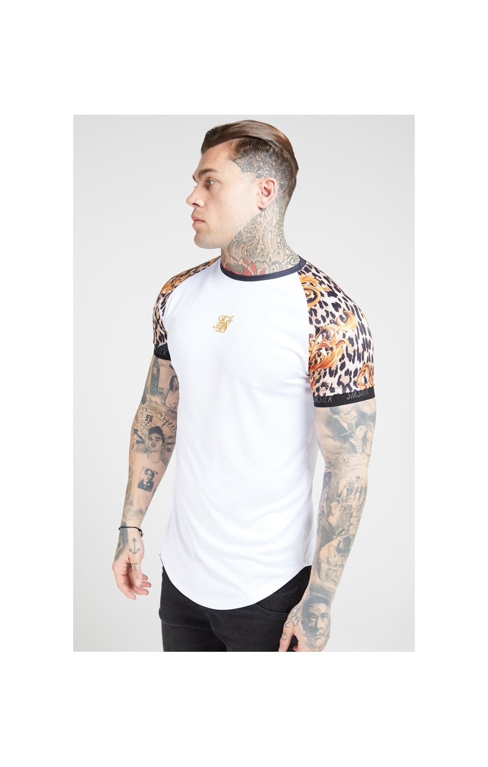 Load image into Gallery viewer, SikSilk S/S Curved Hem Raglan Tech Tee - White & Floral Leopard (1)