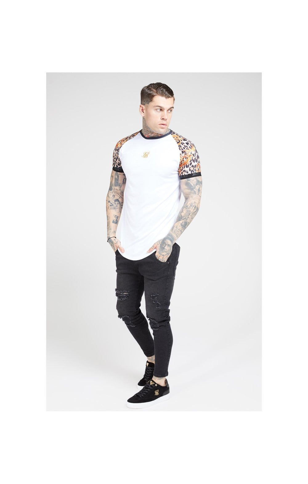 Load image into Gallery viewer, SikSilk S/S Curved Hem Raglan Tech Tee - White & Floral Leopard (3)